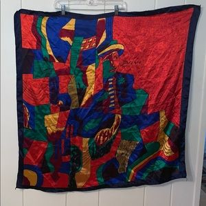 Vtg Picasso large colorful scarf